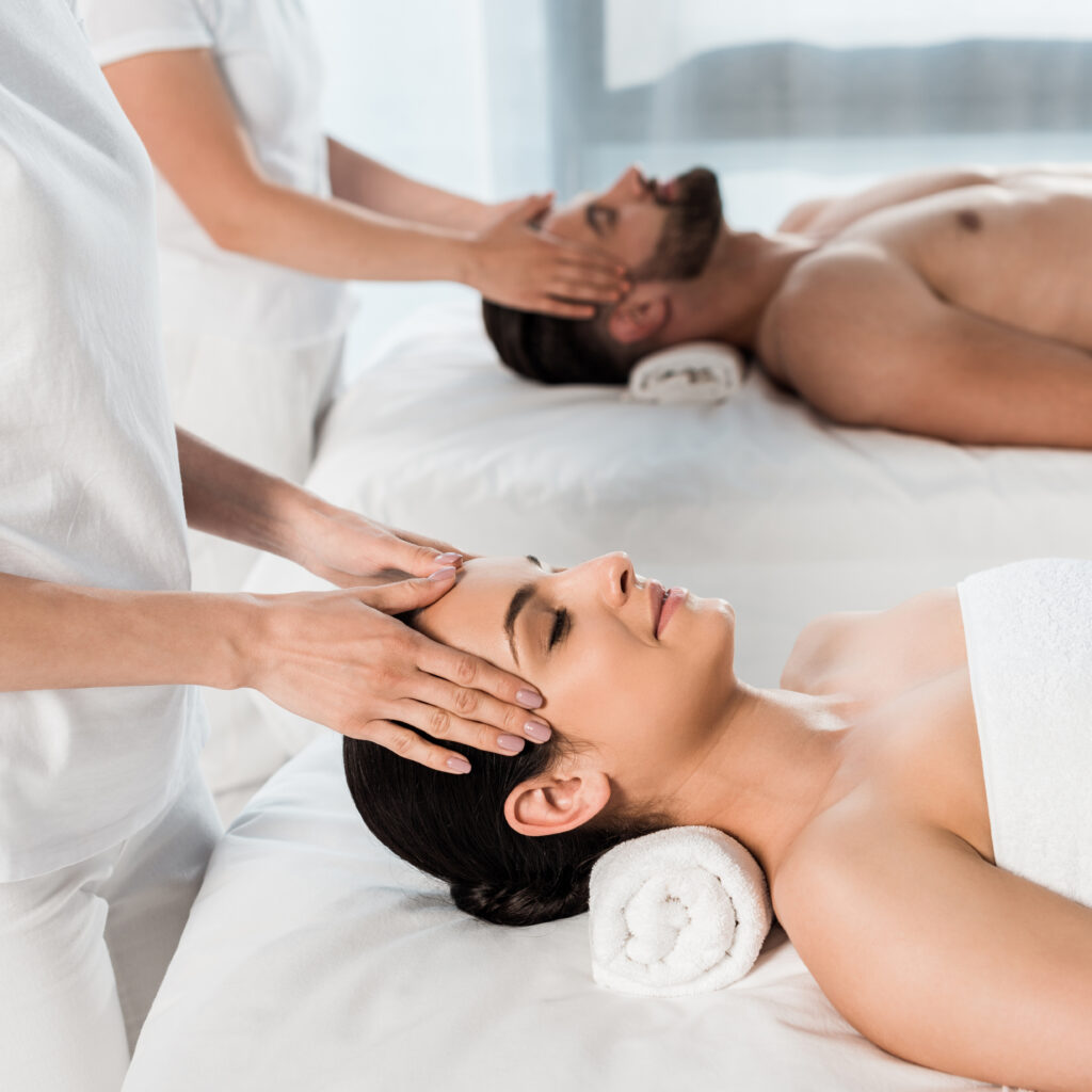 woman and man in spa center